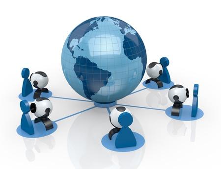 conferentie: wereldbol met een aantal webcam en gestileerde mensen eromheen (3d render)