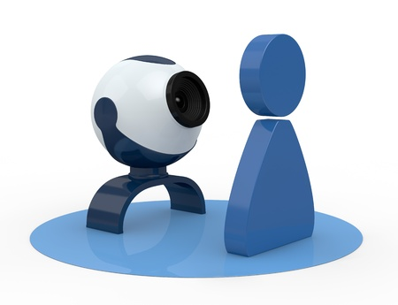 one webcam with a stylized man (3d render) photo