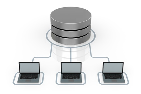 database symbol connected to several electronic devices (3d render) photo