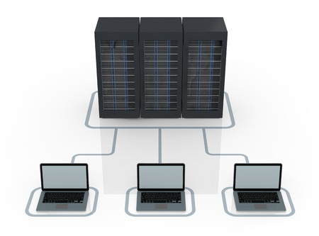 wireless data: one server rack connected to electronic devices (3d render) Stock Photo