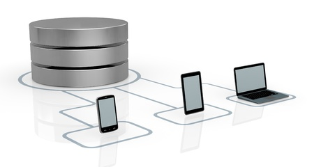 database symbol connected to several electronic devices (3d render) Stock Photo - 14936295