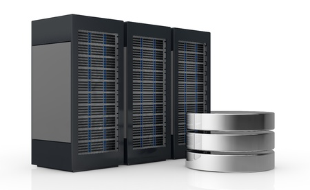 storage device: one row of three server racks with a database symbol (3d render)