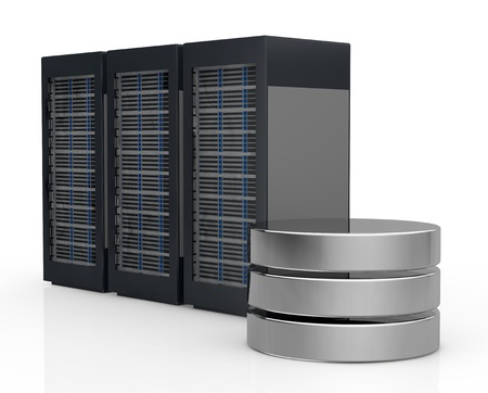 rack server: one row of three server racks with a database symbol (3d render)