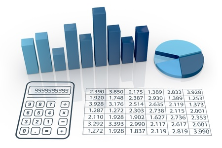 top view of bar chart and pie chart with spreadsheet (3d render) photo