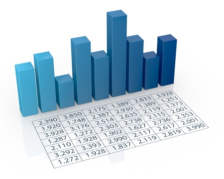 sales chart: top view of bar chart with spreadsheet (3d render) Stock Photo