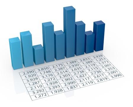 hoja de calculo: vista desde arriba del gráfico de barras con hoja de cálculo (3d render)