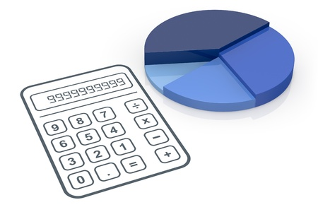 one pie chart with a calculator (3d render) photo