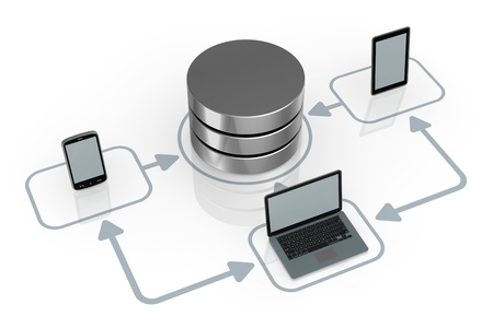 backups: database symbol connected to several electronic devices (3d render)