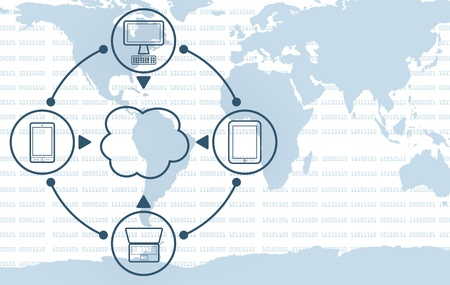backups: one cloud computing symbol connected to several electronic devices with a world map on background (3d render) Stock Photo