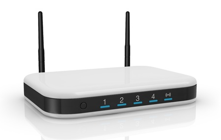 one modem router with two antennas for wireless network (3d render) photo
