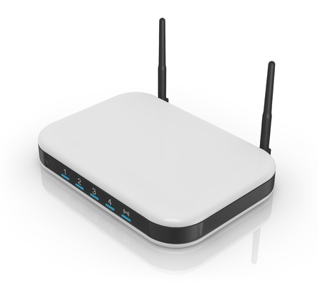 ethernet: one modem router with two antennas for wireless network (3d render) Stock Photo