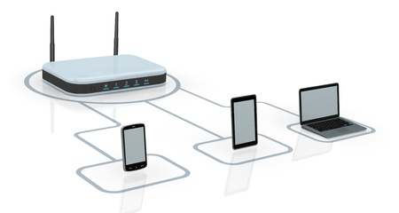 one modem router with two antennas for wireless network, connected to several devices (3d render) photo