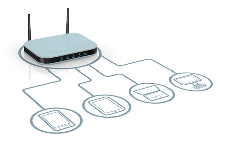 one modem router with two antennas for wireless network, connected to several devices (3d render) Stock Photo