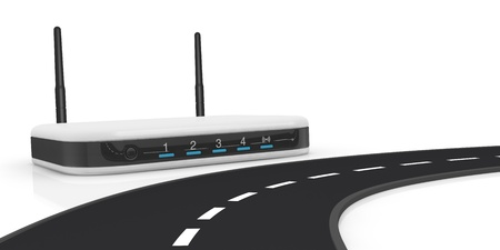 close up view of a road with a wireless modem router on background (3d render) photo