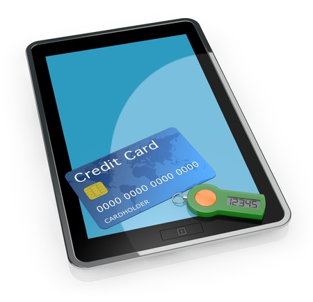 one tablet pc with a password generator for home banking and a credit card (3d render) photo