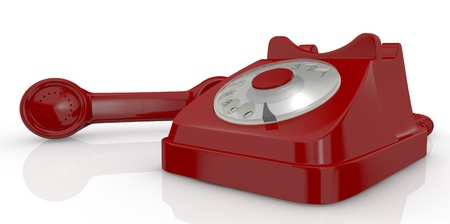 close up view of a vintage red coloured telephone (3d render) photo