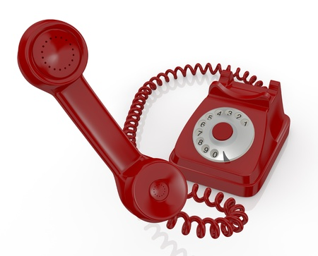 close up view of one handset with a telephone on background (3d render) photo