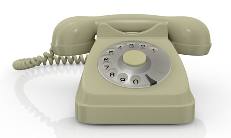 close up view of a vintage beige coloured telephone (3d render) photo