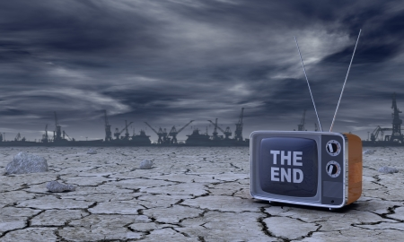barren: post-atomic atmosphere with a vintage television and the the text: the end, on the screen (3d render) Stock Photo
