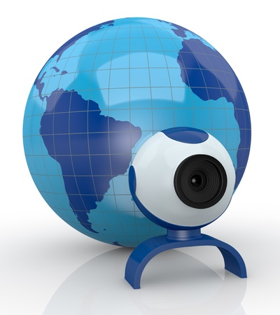 one world globe with a webcam (3d render) Stock Photo - 15611881