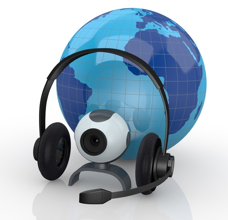 world globe with headphones, mic and a webcam (3d render)