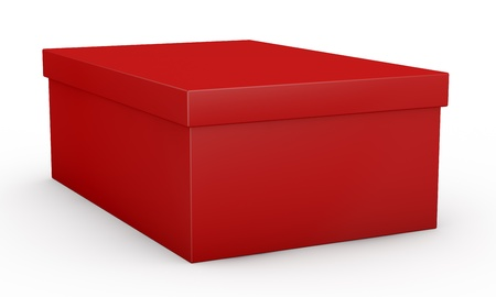 storage box: close up view of one red shoe box (3d render) Stock Photo