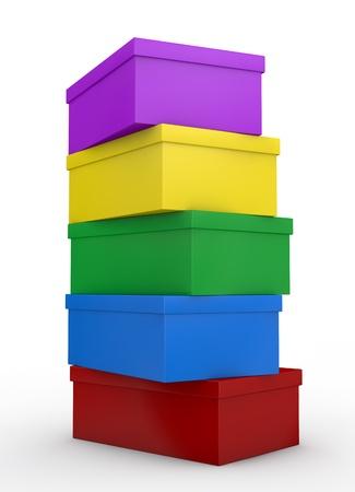 tienda de zapatos: vista de cerca de una pila de cajas de zapatos de colores (3d render) Foto de archivo