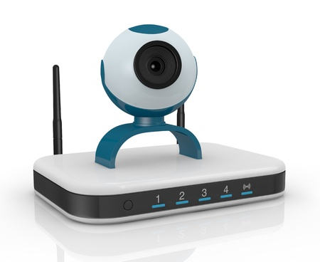 web cam: one wireless modem router with a webcam on it (3d render)