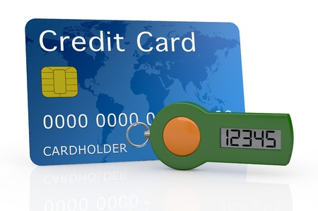 one password generator for home banking with a credit card (3d render) photo