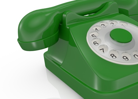 close up view of a vintage green coloured telephone (3d render) photo