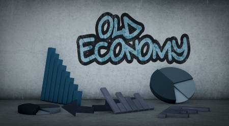 bad economy: some charts in a dirty room (3d render) Stock Photo
