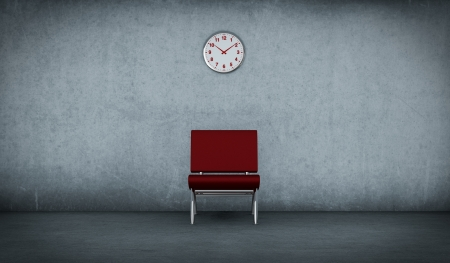 one dirty room with a red chair and a clock on the wall (3d render) Stock Photo - 15611919