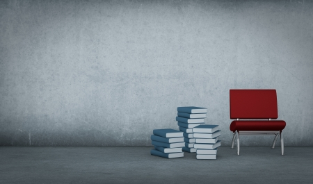 one dirty room with piles of books and a red chair (3d render) photo
