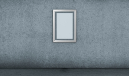 one empty picture frame in a dirty room (3d render) Stock Photo - 15611914