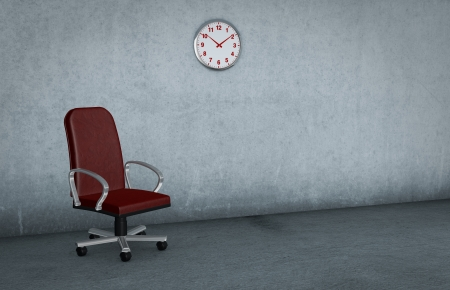 one dirty room with a red chair and a clock on the wall (3d render) photo