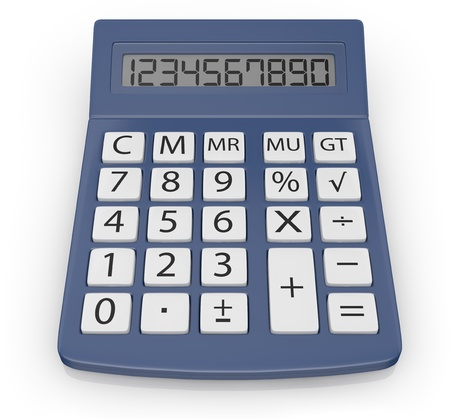 電卓: クローズ アップの電子計算機のビュー (3 d レンダリング) 写真素材