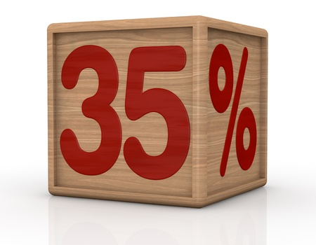 thirty five: one wooden cube with the number thirty five and the percent symbol (3d render)
