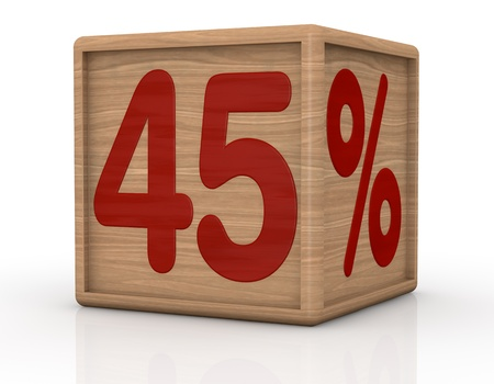 one wooden cube with the number forty five and the percent symbol (3d render) photo
