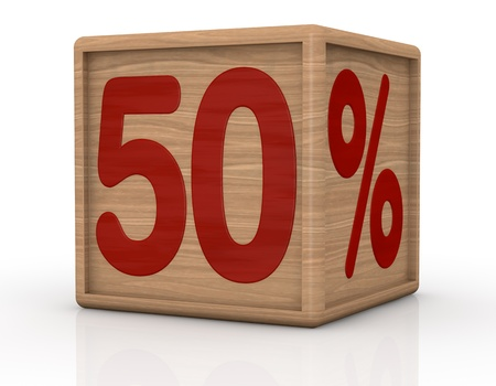 number 50: one wooden cube with the number fifty and the percent symbol (3d render) Stock Photo