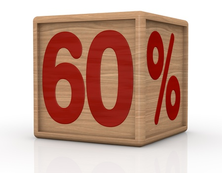 one wooden cube with the number sixty and the percent symbol (3d render) photo