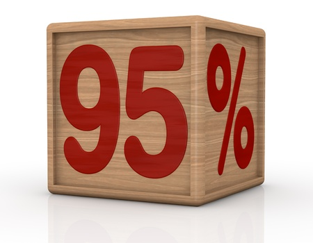 ninety: one wooden cube with the number ninety five and the percent symbol (3d render) Stock Photo