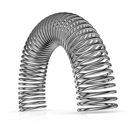 springy: one steel spring with semicircular shape (3d render)