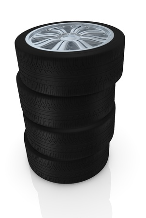 one stack of wheels with steel rims (3d render) Stock Photo - 16185966