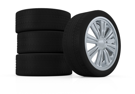one stack of wheels with steel rims (3d render) Stock Photo - 16185977