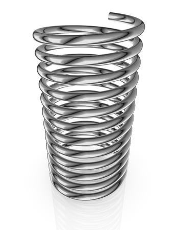 bobina: opinión del primer de un resorte de acero (3d render) Foto de archivo
