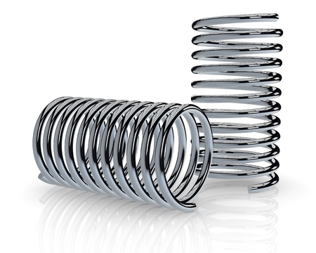 absorber: close up view of of two steel spring (3d render)