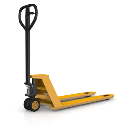 one pallet truck or forklift (3d render)