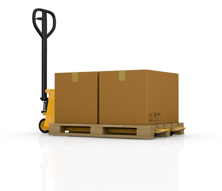 one pallet truck or forklift with a carton box (3d render) Stock Photo - 16186011