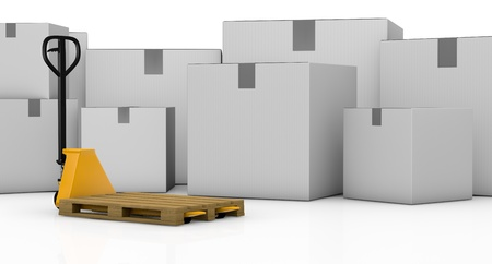 one pallet truck or forklift with big cartons on background (3d render) Stock Photo - 16185969