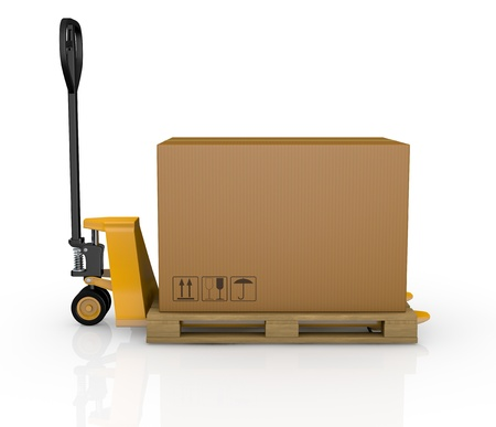 carretillas almacen: una transpaleta o carretilla elevadora con una caja de cartón (3d render)